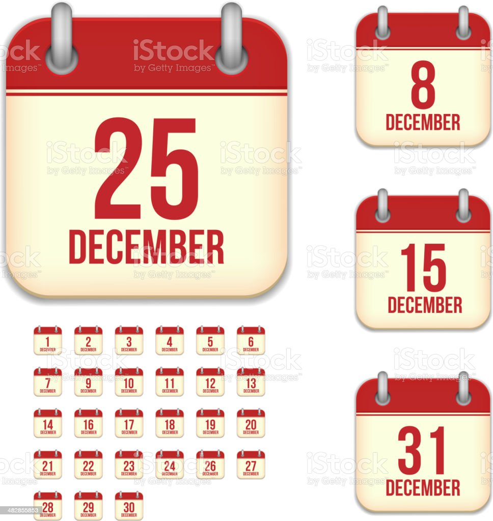 December days. Vector calendar icons vector art illustration