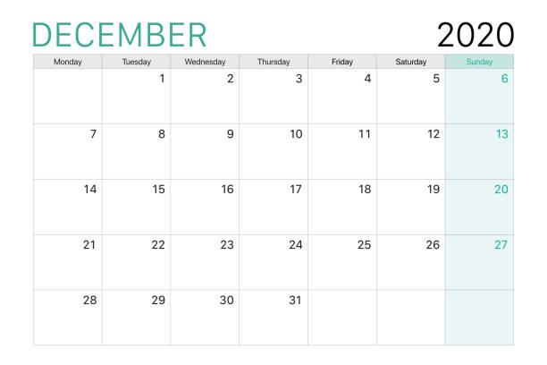stockillustraties, clipart, cartoons en iconen met 2020 december illustratie vector bureaukalender - december