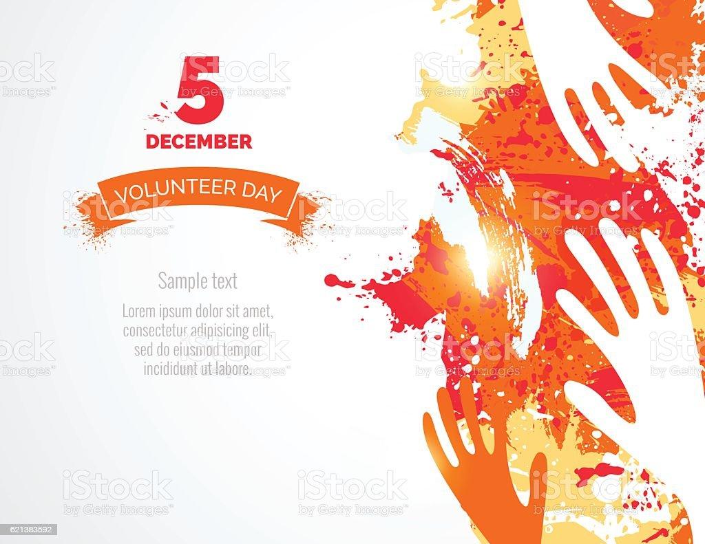 5 December. International volunteer day background. vector art illustration