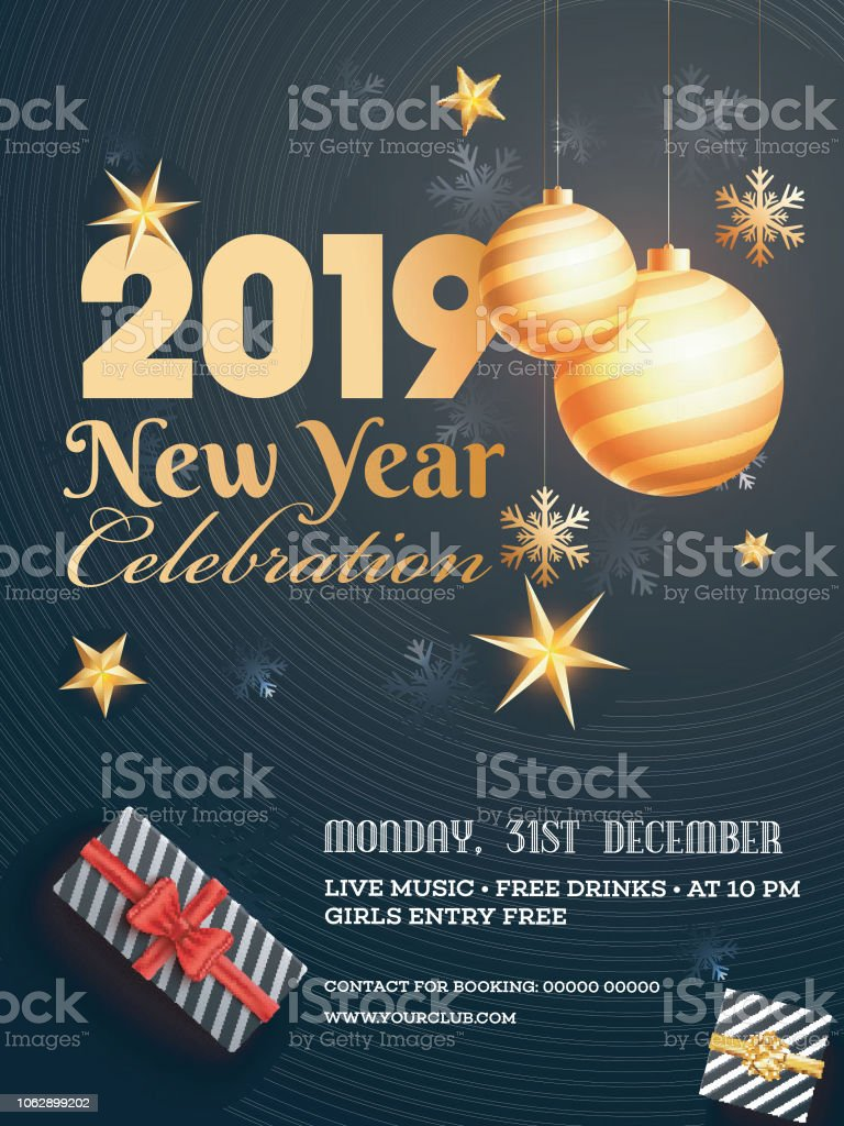 31 december party celebration template or flyer design with decorative baubles gift boxes time