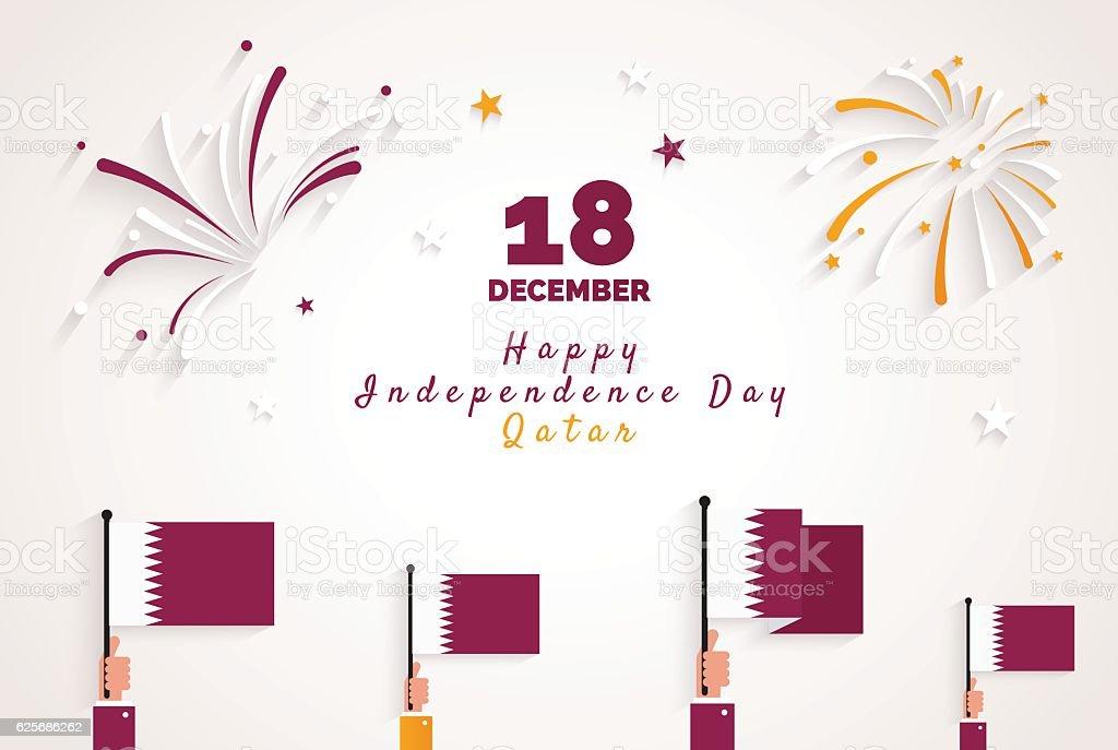 18 december qatar national day greeting card stock vector