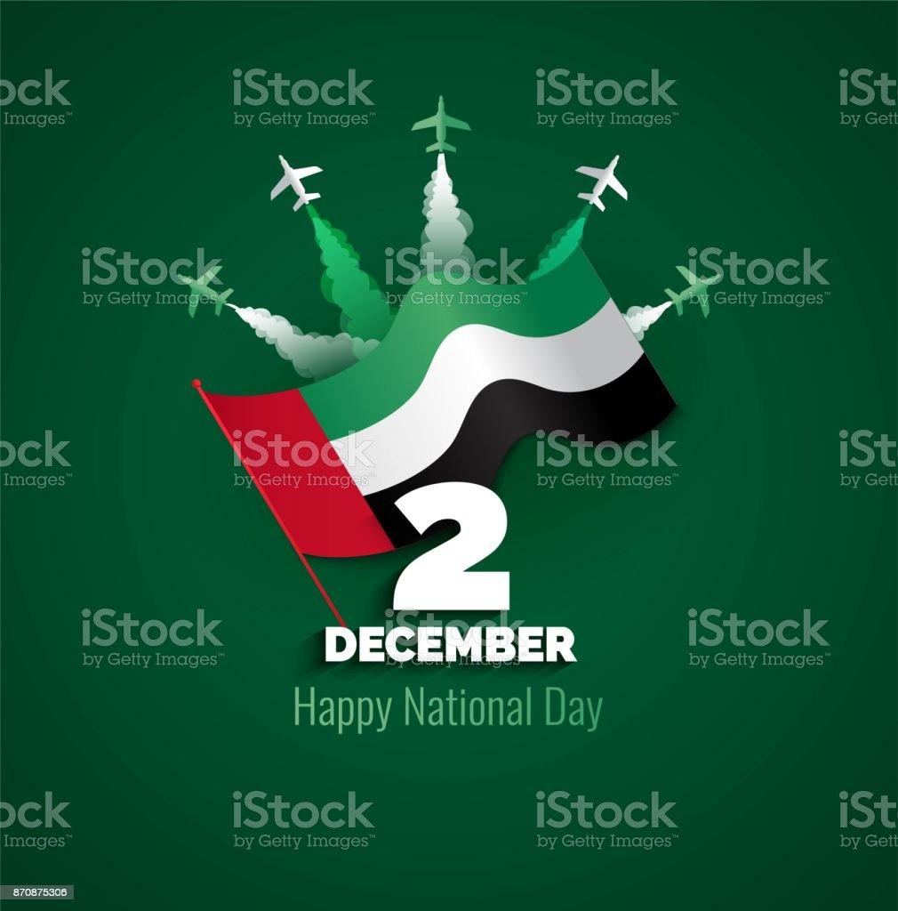 2 12 월입니다. 아랍 에미리트 연방 독립 기념일 국기 색상 테마에 배경. - 로열티 프리 12월 벡터 아트