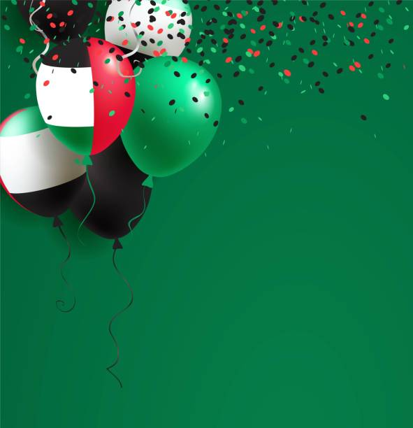 2 December. UAE Independence Day greeting card. 2 December. UAE Independence Day greeting card. Celebration abstract background with balloons and confetti. Vector illustration national holiday stock illustrations