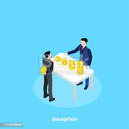 a man in a business suit hides money from another man, isometric image
