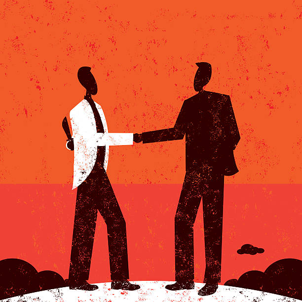 Deceptive Businessman Two businessmen shaking hands with one hiding a knife behind his back. RETROROCKET stock illustrations