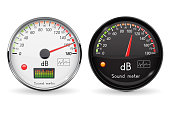 Decibel gauge. Volume unit. Glass gauge with chrome frame