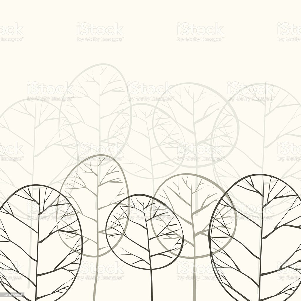 deciduous forest in the fog vector art illustration