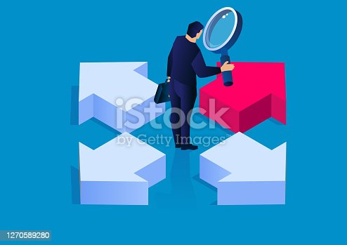 istock Decision, businessman holding a magnifying glass looking at arrows pointing in four directions, conceptual business vector illustration 1270589280