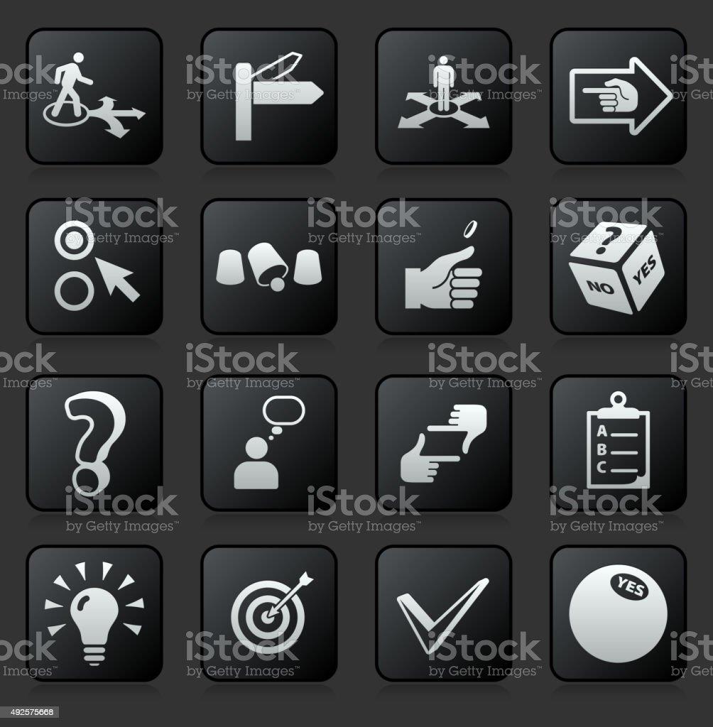 Decision Making  icon set on Black Background vector art illustration