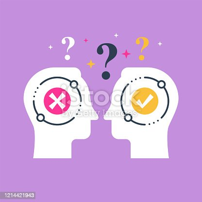istock Decision making, opinion poll, bias and mindset, negotiation and persuasion, two heads 1214421943