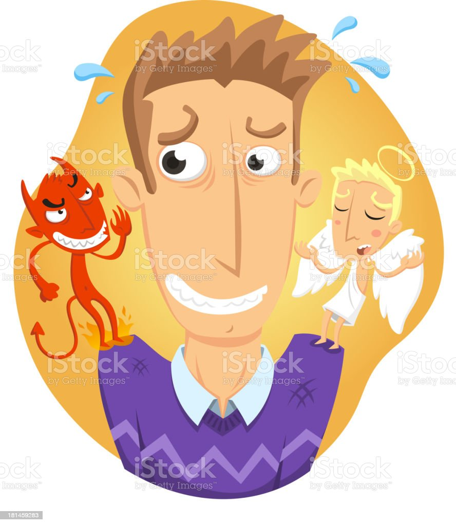Decision Moment Between Guardian Angel and Evil Advice royalty-free stock vector art