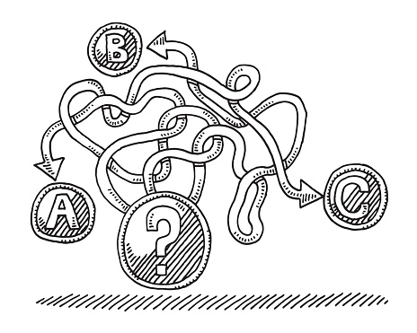 Decision Question Mark Choices Concept Drawing