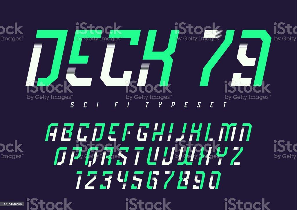 Deck 79 vector futuristic industrial display typeface design, al - Royalty-free Alphabet stock vector