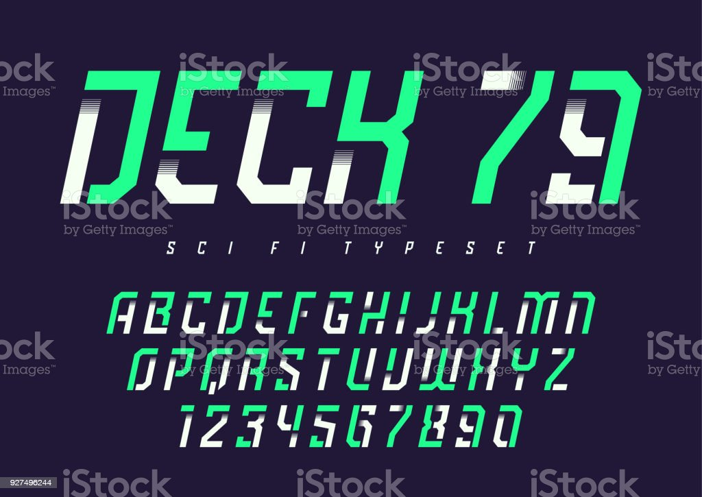 Deck 79 vector futuristic industrial display typeface design, al vector art illustration