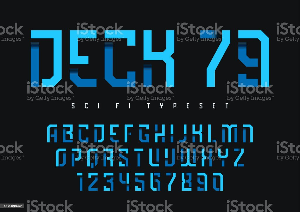 Deck 79 vector futuristic industrial display typeface design, alphabet, character set, font, typography, letters and numbers. royalty-free deck 79 vector futuristic industrial display typeface design alphabet character set font typography letters and numbers stock illustration - download image now