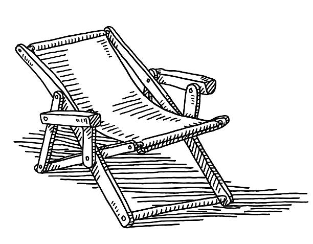 Deck Chair Drawing Hand-drawn vector drawing of a Deck Chair. Black-and-White sketch on a transparent background (.eps-file). Included files are EPS (v10) and Hi-Res JPG. outdoor chair stock illustrations