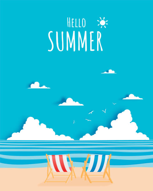 Deck chair on the beach with ocean background for summer Couple deck chairs on the beach with ocean background for summer in paper art style vector illustration beach borders stock illustrations
