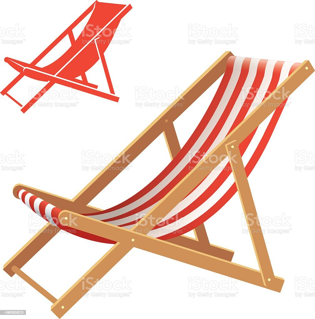 Deck chair Two deck chair vector illustrations. Realistic and silhouette Beach stock vector