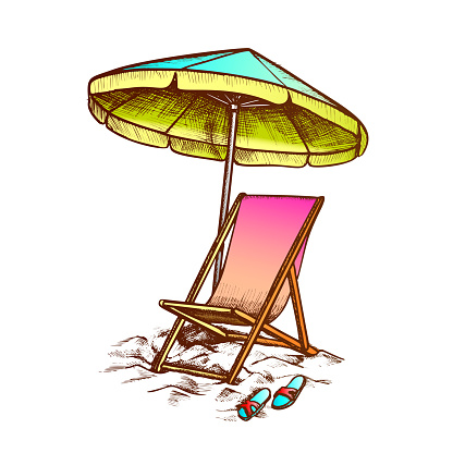 Deck Chair With Umbrella And Slippers Ink Vector