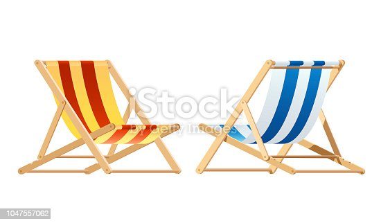 Deck chair. wood chair vector