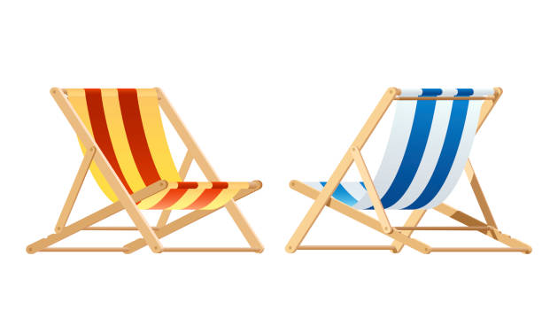 Deck chair. wood chair vector Deck chair. wood chair vector outdoor chair stock illustrations