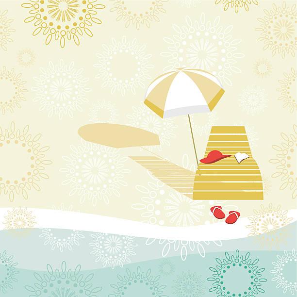 Deckchair and sunshade on the beach vector art illustration
