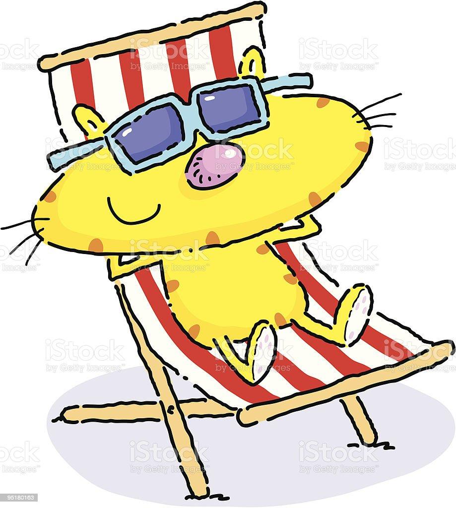 Deckchair Cat royalty-free stock vector art