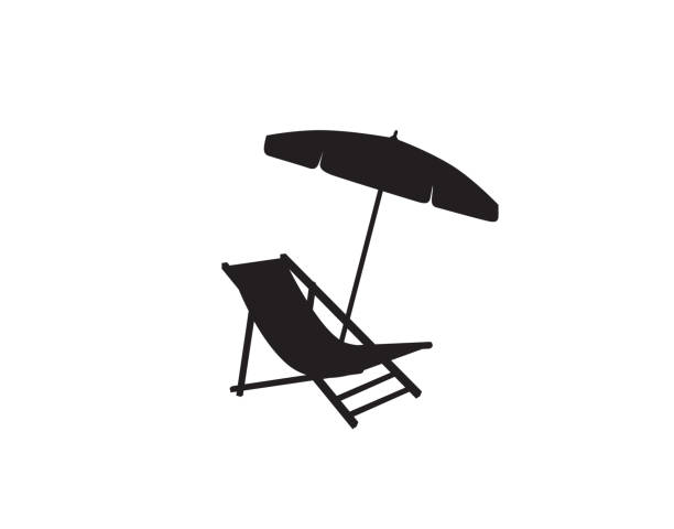 Deckchair umbrella summer beach holiday symbol silhouette icon. Chaise longue, parasol isolated. Sunbath beach resort symbol of the holidays vector art illustration