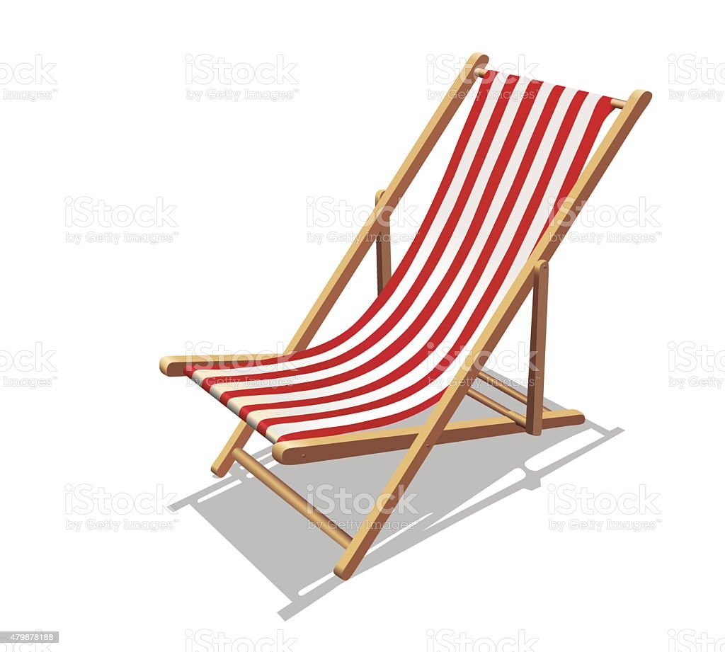 Deckchair with red stripes and shadows vector art illustration