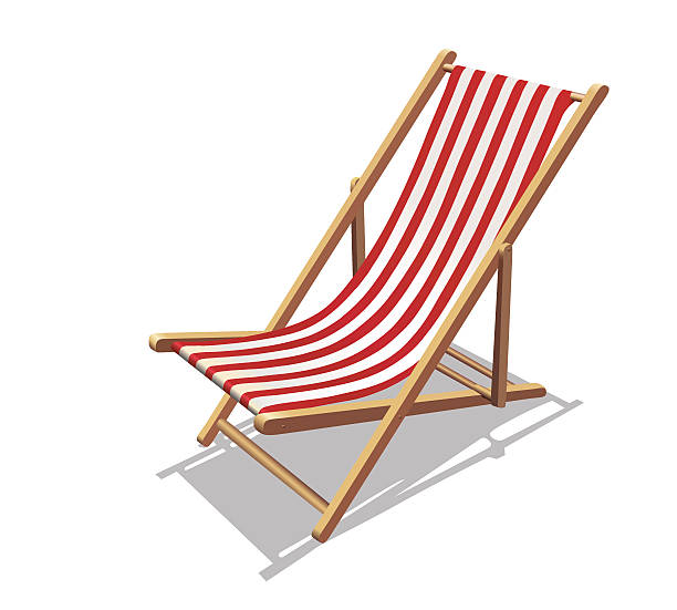Deckchair with red stripes and shadows Vector Illustration isolated on white background. outdoor chair stock illustrations