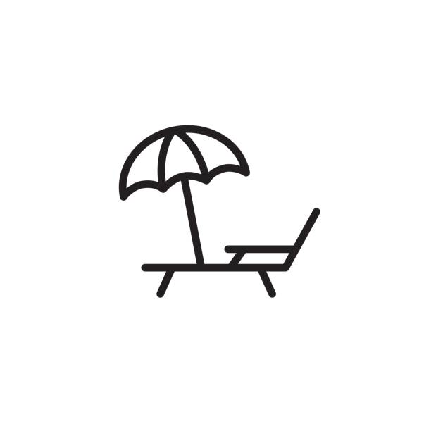 deckchair with umbrella icon thin line black thin line deckchair with umbrella icon thin line black outdoor chair stock illustrations