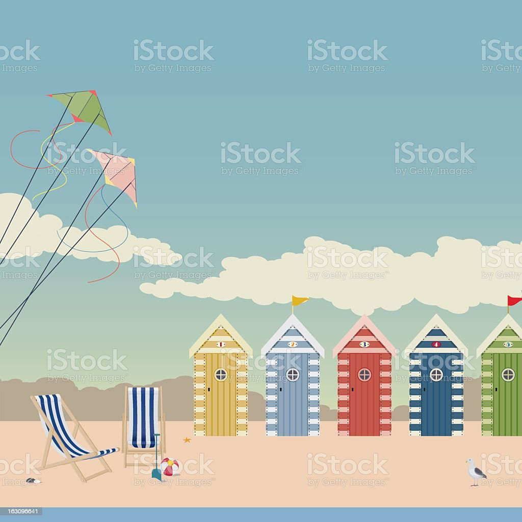 Deckchairs and Beach Huts vector art illustration