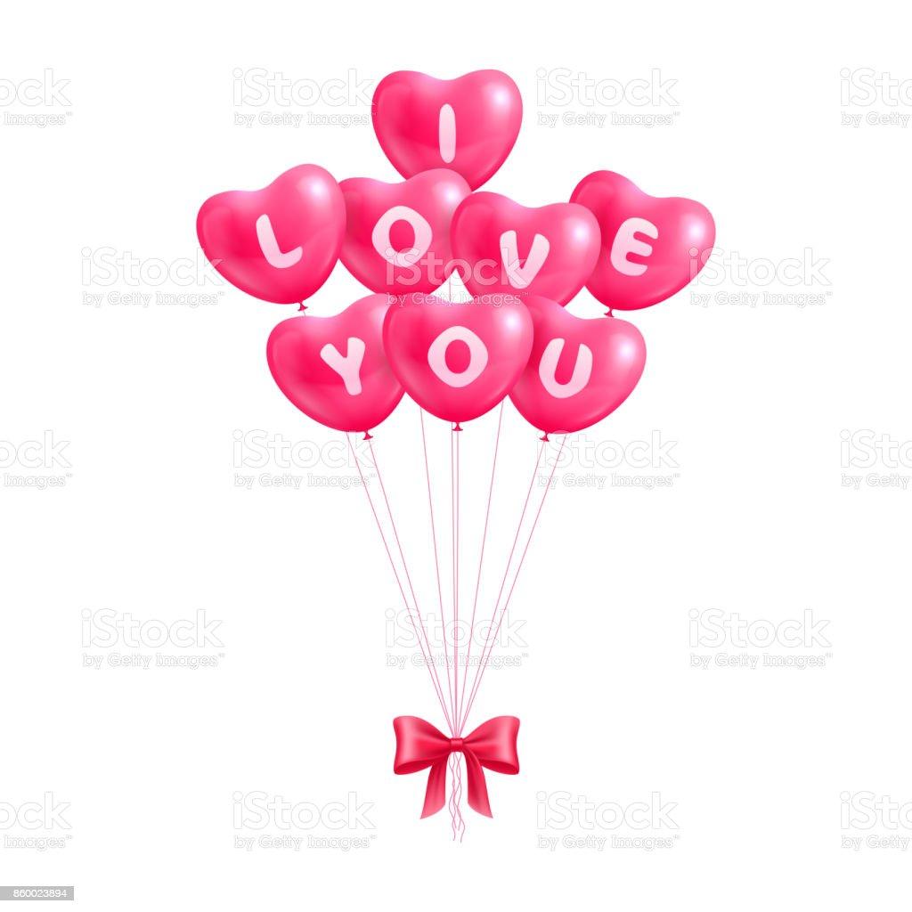 Declaration I Love You Hearts Balloons Isolated Stock Vector Art