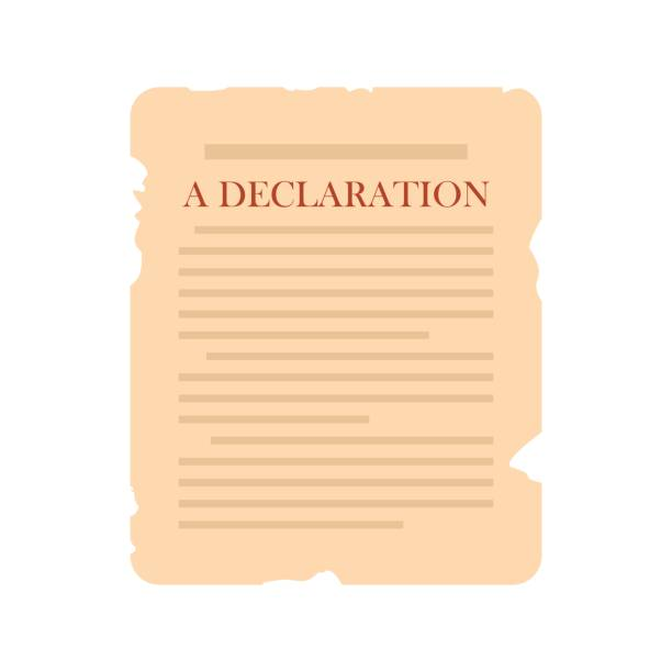 Declaration icon flat Declaration icon in flat style isolated on white background declaration of independence stock illustrations