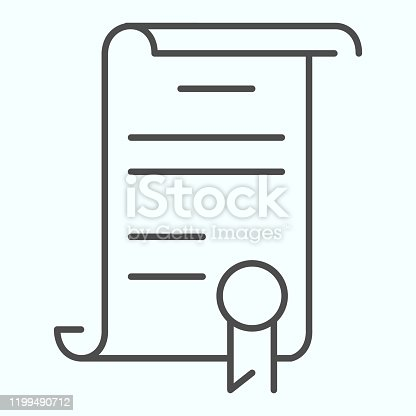 Declaration thin line icon. American document vector illustration isolated on white. Contract outline style design, designed for web and app. Eps 10