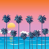 Decline on the beach with palm trees