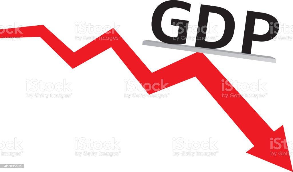 GDP decline vector art illustration