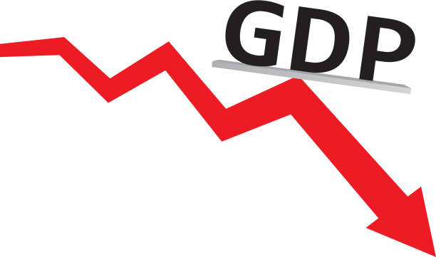 stockillustraties, clipart, cartoons en iconen met gdp decline - bruto binnenlands product