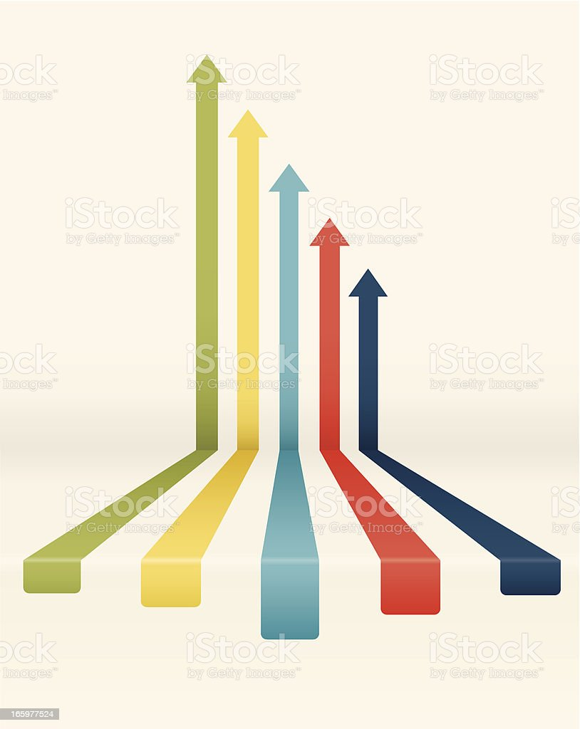 Declining colored arrow chart vector art illustration