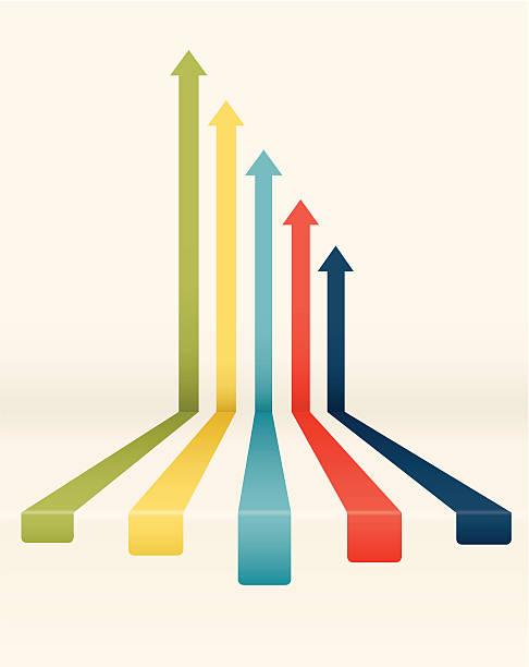 Declining colored arrow chart vector art illustration