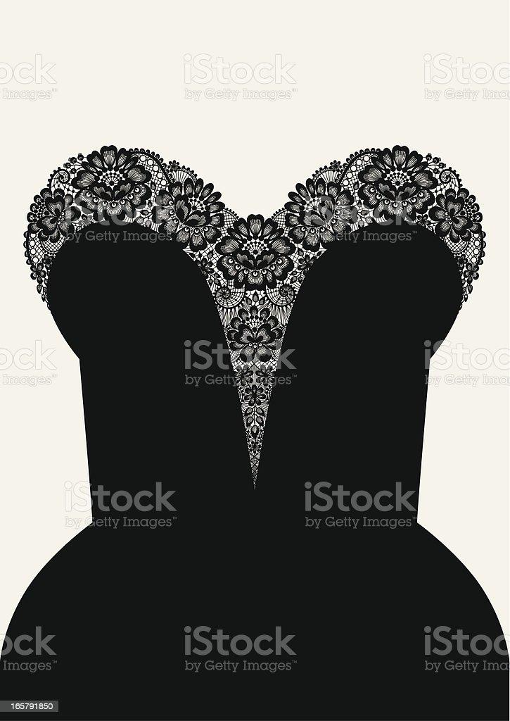 Decollete black dress. vector art illustration