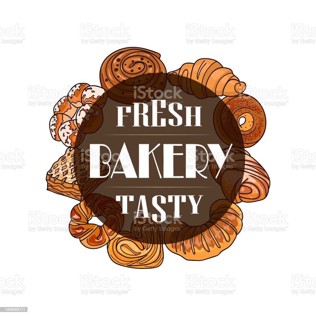 Decor for a shop or cafe with pastries, bread, baking. Bakery store, bread house, handwritten illustration with lettering. vector vector art illustration
