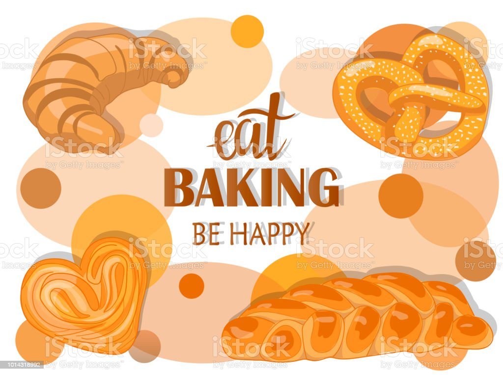 Decor for a shop or cafe with pastries, bread, baking. Bakery store, bread house, handwritten illustration with lettering. Signboard, vector vector art illustration