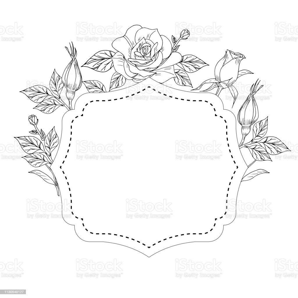 Ilustración De Decoración Para Tarjeta Con Rosas Hojas Y