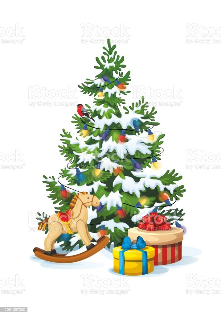 weihnachten flauschige kiefer mit geschenke und spielzeug. Black Bedroom Furniture Sets. Home Design Ideas