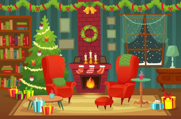 ilustrações de stock, clip art, desenhos animados e ícones de decorated christmas room. winter holiday interior decorations, armchair near fireplace and xmas tree vector background illustration - braseiro