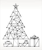 Decorated Christmas Tree and Presents Triangle Node Black and White Pattern