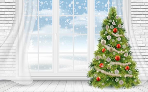 ilustrações de stock, clip art, desenhos animados e ícones de decorated christmas tree in the light interior - living room background