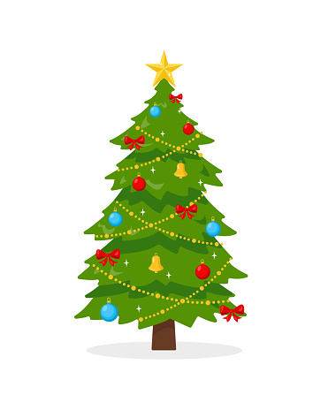 Decorated Christmas tree on white background.