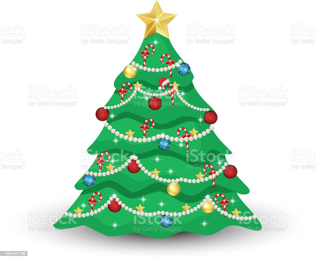 Decorated Christmas Tree Stock Illustration Download Image